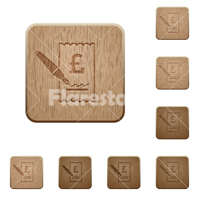 Signing Pound cheque wooden buttons - Signing Pound cheque on rounded square carved wooden button styles