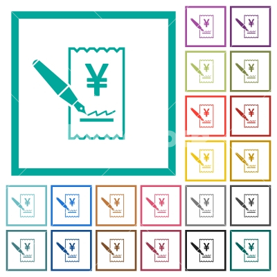 Signing Yen cheque flat color icons with quadrant frames - Signing Yen cheque flat color icons with quadrant frames on white background