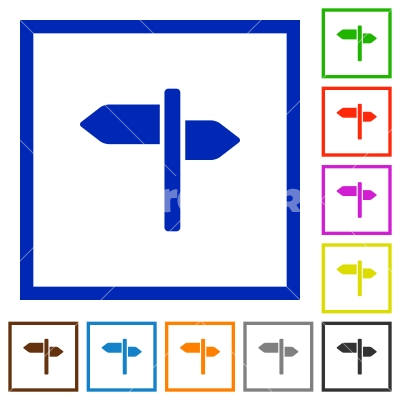 Signpost flat framed icons - Signpost flat color icons in square frames on white background