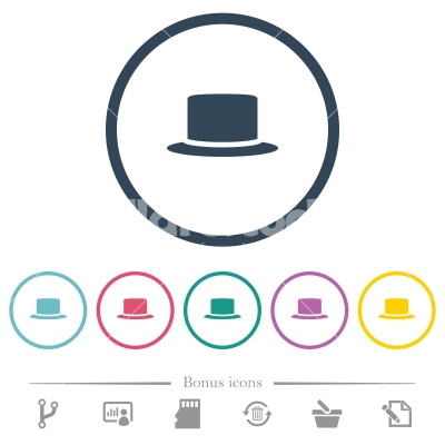 Silk hat flat color icons in round outlines - Silk hat flat color icons in round outlines. 6 bonus icons included.
