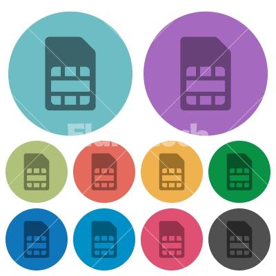 SIM card color darker flat icons - SIM card darker flat icons on color round background