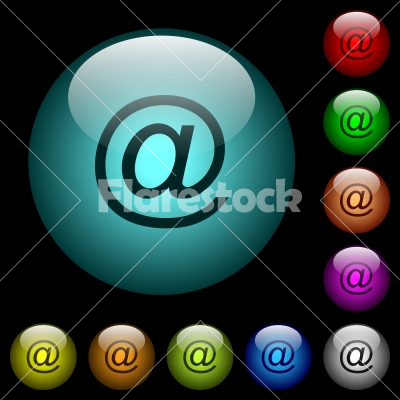 Single email symbol icons in color illuminated glass buttons - Single email symbol icons in color illuminated spherical glass buttons on black background. Can be used to black or dark templates