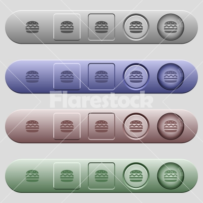 Single hamburger icons on horizontal menu bars - Single hamburger icons on rounded horizontal menu bars in different colors and button styles