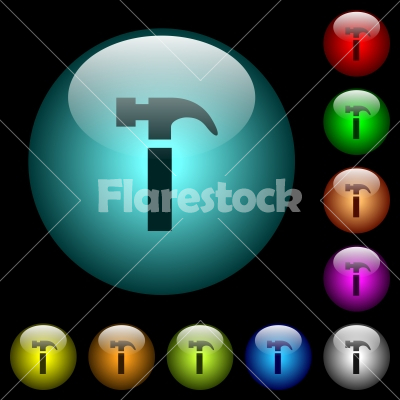 Single hammer icons in color illuminated glass buttons - Single hammer icons in color illuminated spherical glass buttons on black background. Can be used to black or dark templates
