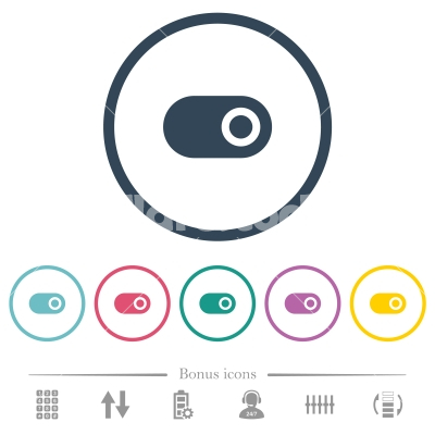 Single horizontal toggle flat color icons in round outlines - Single horizontal toggle flat color icons in round outlines. 6 bonus icons included.