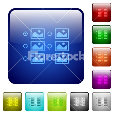 Single image selection with radio buttons color square buttons - Single image selection with radio buttons icons in rounded square color glossy button set - Free stock vector