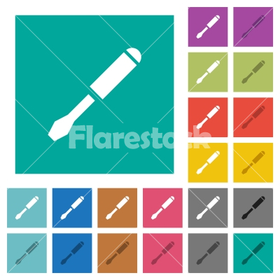 Single screwdriver square flat multi colored icons - Single screwdriver multi colored flat icons on plain square backgrounds. Included white and darker icon variations for hover or active effects.