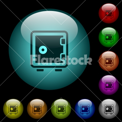 Single strong box icons in color illuminated glass buttons - Single strong box icons in color illuminated spherical glass buttons on black background. Can be used to black or dark templates