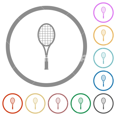 Single tennis racket flat icons with outlines - Single tennis racket flat color icons in round outlines on white background