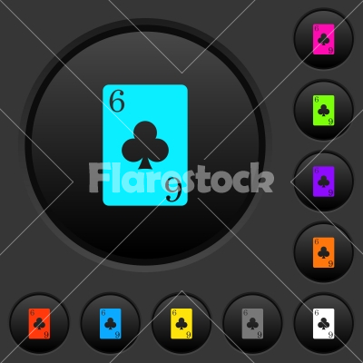 Six of clubs card dark push buttons with color icons - Six of clubs card dark push buttons with vivid color icons on dark grey background