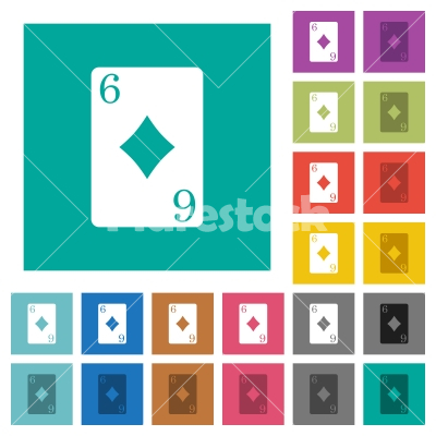 Six of diamonds card square flat multi colored icons - Six of diamonds card multi colored flat icons on plain square backgrounds. Included white and darker icon variations for hover or active effects.