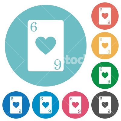 Six of hearts card flat round icons - Six of hearts card flat white icons on round color backgrounds