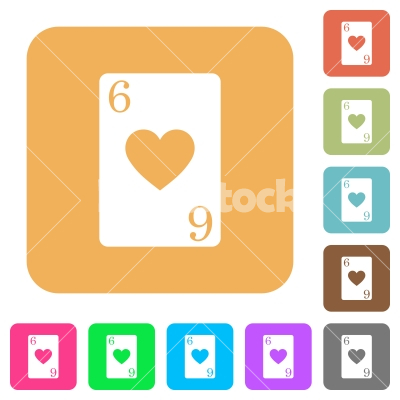 Six of hearts card rounded square flat icons - Six of hearts card flat icons on rounded square vivid color backgrounds.