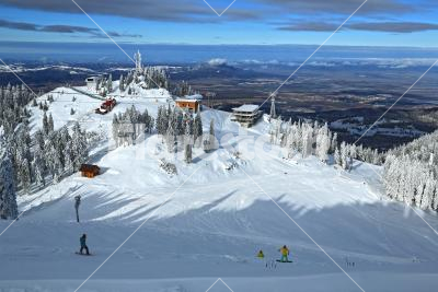 Ski resort - View of a ski resort with skiers