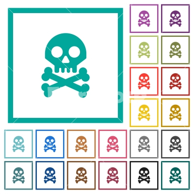Skull with bones flat color icons with quadrant frames - Skull with bones flat color icons with quadrant frames on white background