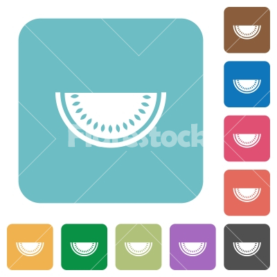 Slice of watermelon rounded square flat icons - Slice of watermelon white flat icons on color rounded square backgrounds
