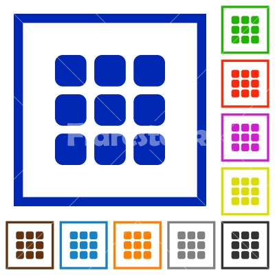 Small grid view framed flat icons - Set of color square framed Small grid view flat icons on white background