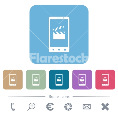 Smartphone film cut rounded square flat icons - Smartphone film cut white flat icons on color rounded square backgrounds