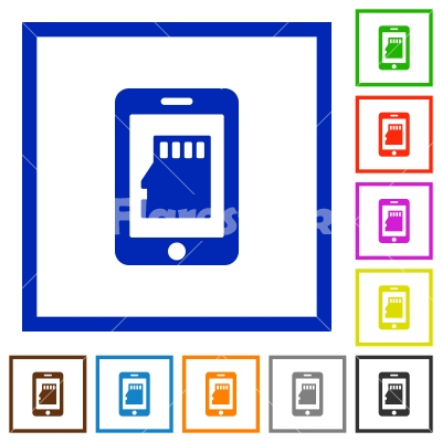 Smartphone memory card flat framed icons - Stock vector - Flarestock