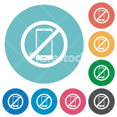 Smartphone not allowed flat round icons - Smartphone not allowed flat white icons on round color backgrounds