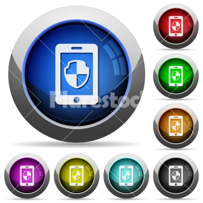 Smartphone protection round glossy buttons - Smartphone protection icons in round glossy buttons with steel frames