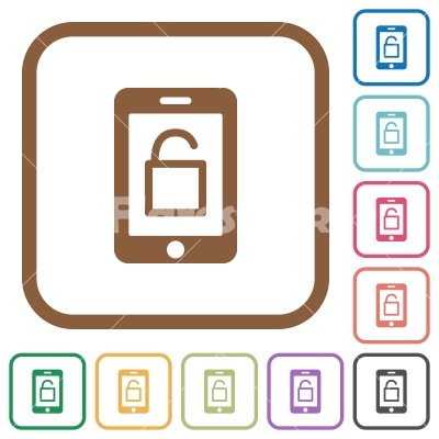 Smartphone unlock simple icons - Smartphone unlock simple icons in color rounded square frames on white background