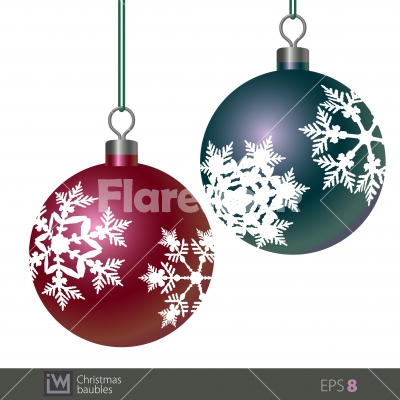 snowflake patterned christmas baubles stock vector flarestock
