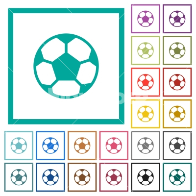 Soccer ball flat color icons with quadrant frames - Stock vector ...