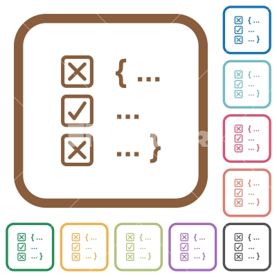 Source code checking simple icons - Source code checking simple icons in color rounded square frames on white background
