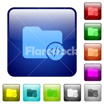 Source code directory color square buttons - Source code directory icons in rounded square color glossy button set