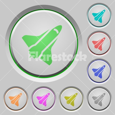 Space shuttle push buttons - Space shuttle color icons on sunk push buttons