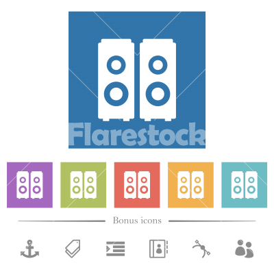 Speakers flat white icons in square backgrounds - Speakers flat white icons in square backgrounds. 6 bonus icons included.