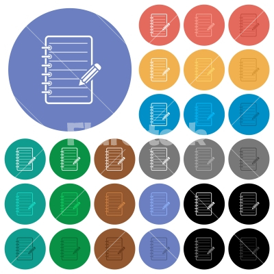 Spiral notepad with pencil round flat multi colored icons - Spiral notepad with pencil multi colored flat icons on round backgrounds. Included white, light and dark icon variations for hover and active status effects, and bonus shades.