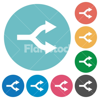 Split arrows flat round icons - Split arrows flat white icons on round color backgrounds