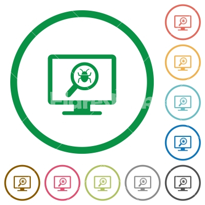 Spyware scanning flat icons with outlines - Spyware scanning flat color icons in round outlines on white background