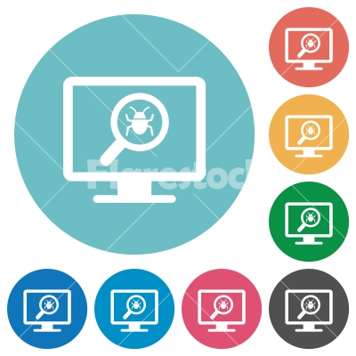 Spyware scanning flat round icons - Spyware scanning flat white icons on round color backgrounds