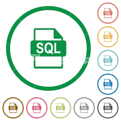 SQL file format flat icons with outlines - SQL file format flat color icons in round outlines on white background