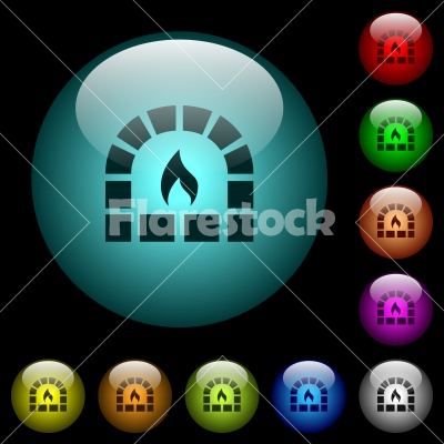 Stone oven icons in color illuminated glass buttons - Stone oven icons in color illuminated spherical glass buttons on black background. Can be used to black or dark templates
