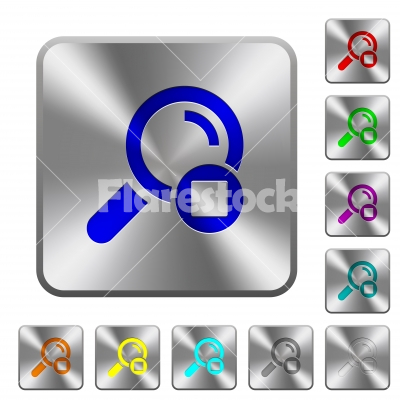 Stop search rounded square steel buttons - Stop search engraved icons on rounded square glossy steel buttons