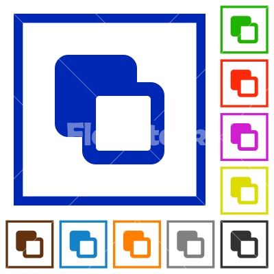 Subtract shapes flat framed icons - Subtract shapes flat color icons in square frames on white background