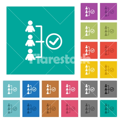 Successful teamwork square flat multi colored icons - Successful teamwork multi colored flat icons on plain square backgrounds. Included white and darker icon variations for hover or active effects.
