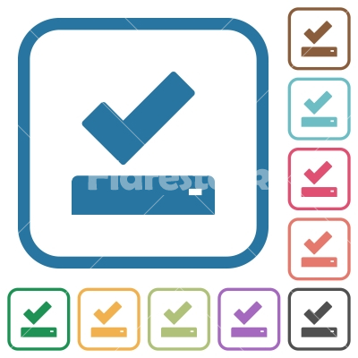 Successfully saved simple icons - Successfully saved simple icons in color rounded square frames on white background - Free stock vector