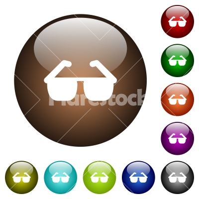 Sunglasses color glass buttons - Sunglasses white icons on round color glass buttons