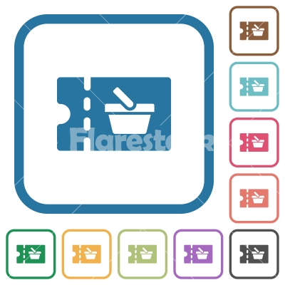 Supermarket discount coupon simple icons - Supermarket discount coupon simple icons in color rounded square frames on white background