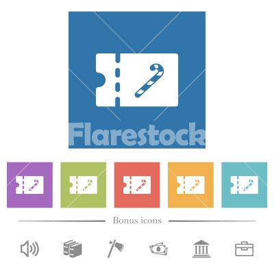 Sweet shop discount coupon flat white icons in square backgrounds - Sweet shop discount coupon flat white icons in square backgrounds. 6 bonus icons included.