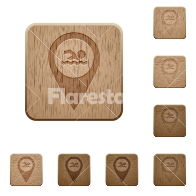 Swimming pool GPS map location wooden buttons - Swimming pool GPS map location on rounded square carved wooden button styles