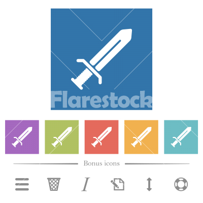 Sword flat white icons in square backgrounds - Sword flat white icons in square backgrounds. 6 bonus icons included.