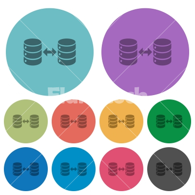 Syncronize databases color darker flat icons - Syncronize databases darker flat icons on color round background
