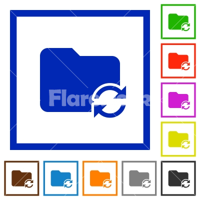 Syncronize folder framed flat icons - Set of color square framed Syncronize folder flat icons