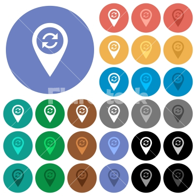 Syncronize GPS map location round flat multi colored icons - Syncronize GPS map location multi colored flat icons on round backgrounds. Included white, light and dark icon variations for hover and active status effects, and bonus shades on black backgounds.